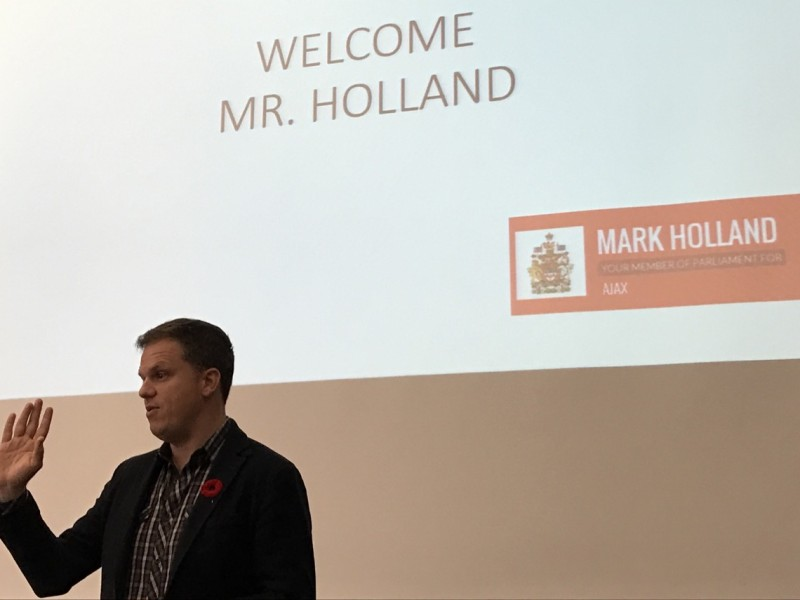 Mark Holland addresses Grade 10 Students in their Civcs & Careers class.